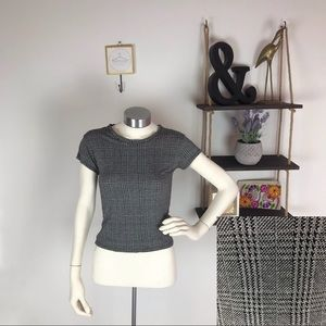 Brandy Melville Gray Houndstooth Cropped Tee